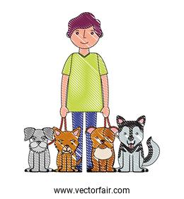 man character with four dogs mascot