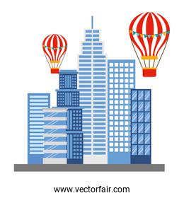 buildings structures with balloons air icon