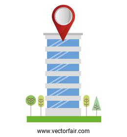 building structure with pin location and trees plants