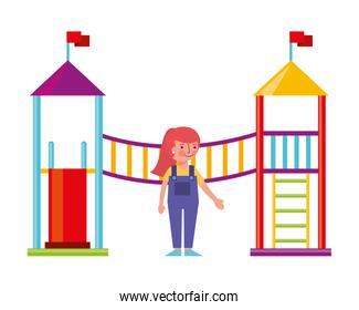 little girl in amusement park isolated icon