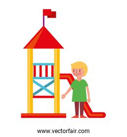 little boy in amusement park isolated icon