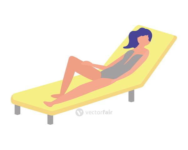 woman with swimsuit in beach chair