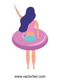 woman with swimsuit in float