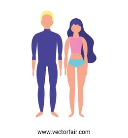 young couple with swimsuit icon