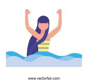 woman with swimsuit in sea character