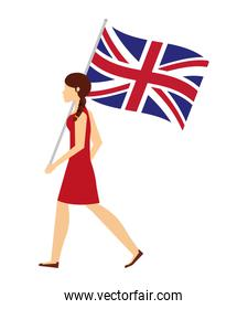 woman with flag in pole of great britain isolated icon
