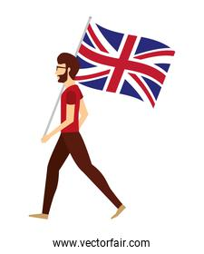 man with flag in pole of great britain isolated icon