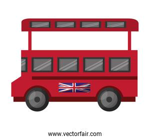 bus transport with flag of great britain icon