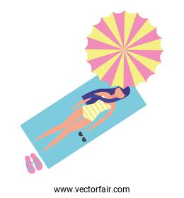faceless woman with swimsuit relax in towell