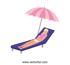 woman with swimsuit in beach chair and umbrella icon