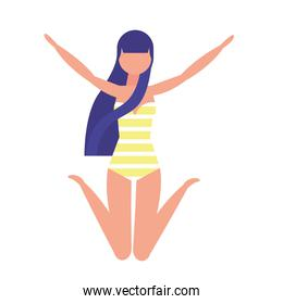 woman with swimsuit celebrating icon