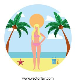 woman with swimsuit in the beach icon