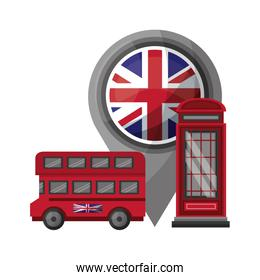 bus transport of great britain with set icons
