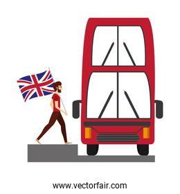 bus transport and man with flag great britain