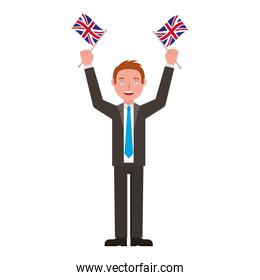 businessman with flags of great britain isolated icon