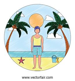 man in swimsuit on beach tropical