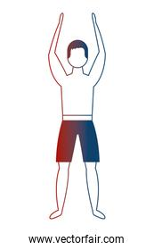 man in swimsuit with hands up