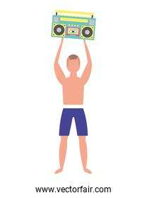 man in swimsuit holding stereo radio