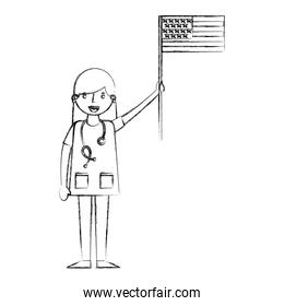 woman doctor holding american flag labor day