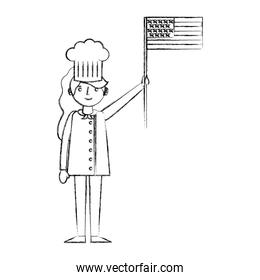chef woman female character with hat holding american flag labor day