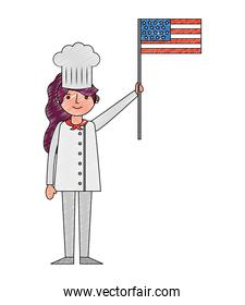 chef woman character holding american flag labor day