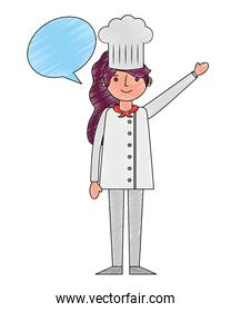 chef woman female character with hat speech bubble