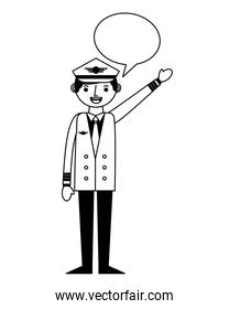 airplane pilot with speech bubble