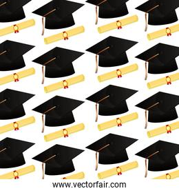 graduation hat and scroll certificates school pattern