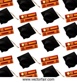 pattern of hat graduation with books