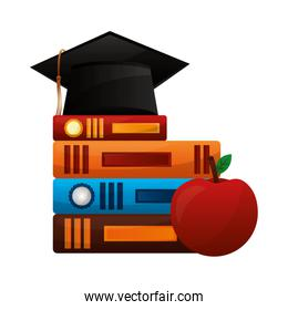 hat graduation with books and apple
