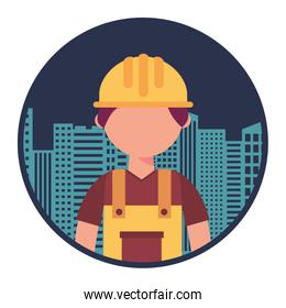 construction builder with cityscape