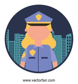 woman officer police with cityscape