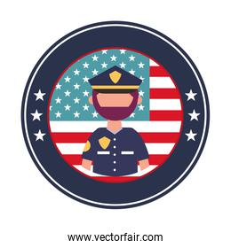 officer police with usa emblem