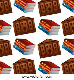 library pile books and school building pattern