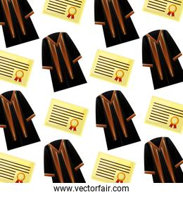 diploma and toga graduation pattern background