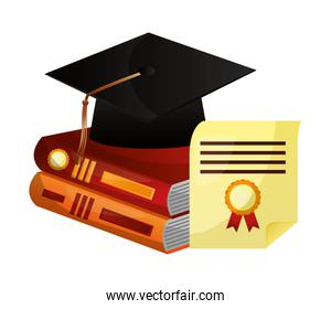 parchment diploma and hat graduation with books