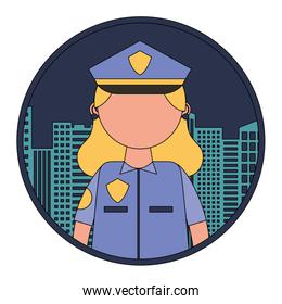 faceless woman officer police with cityscape
