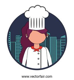 restaurant female chef with cityscape