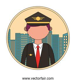 airplane pilot with cityscape