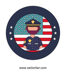 officer police with usa emblem over white