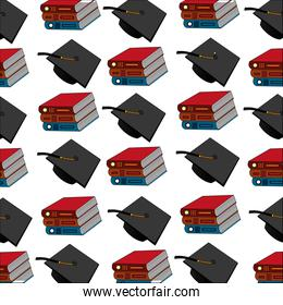 pile books with graduation hats pattern