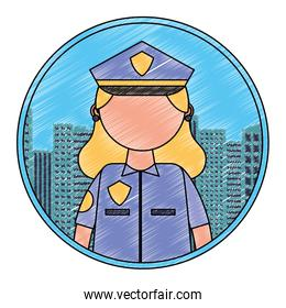 police woman portrait character city