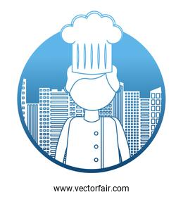 restaurant chef with cityscape