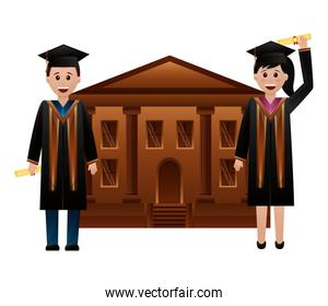 school building and graduates man and woman