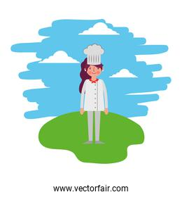 female chef standing in the landscape