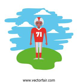 american football player standing in the landscape
