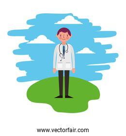 doctor with stethoscope standing in the landscape