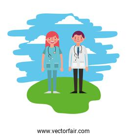 female and male doctor occupation professional