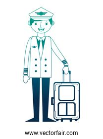 airline pilot with suitcase work