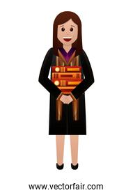 young woman graduated with books avatar character